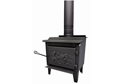 Ashley Hearth Products 2,000 Sq. Ft. EPA Certified Black Enameled Porcelain  Cast Iron Wood