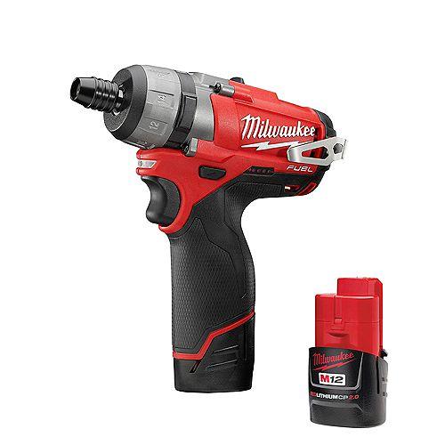 Milwaukee Tool M12 FUEL 12V Li-Ion Brushless Cordless 1/4in. Hex 2SPD Screwdriver Kit W/(2) 2.0h Batteries & Case