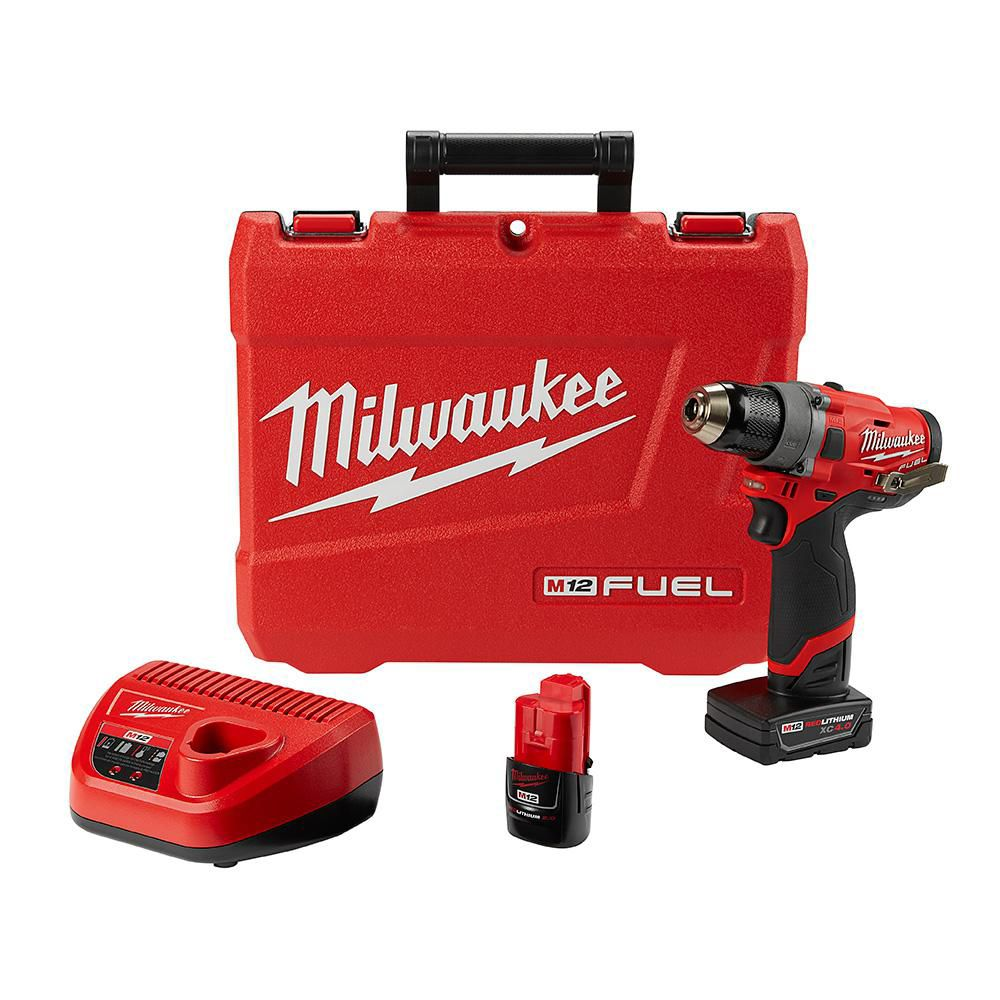 Milwaukee Tool M12 FUEL 12V Lithium-Ion Brushless Cordless 1/2-Inch Drill/Driver Kit with 4.0Ah & 2.0Ah Batteries