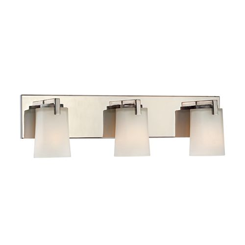 Hampton Bay Wellman 3-Light Polished Nickel Vanity Light with Etched White Glass Shades