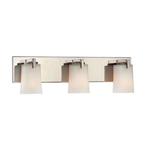 Hampton Bay Applique de salle de bains Wellman, nickel poli, 3ampoules, diffuseurs en verre givré blanc