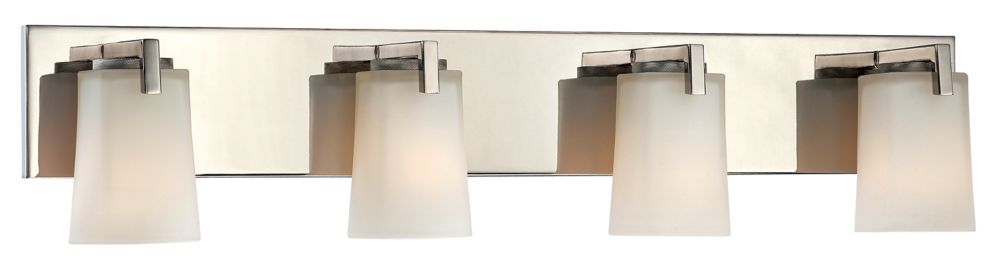 Hampton Bay Wellman 4-Light Polished Nickel Vanity Light with Frosted White Glass Shades