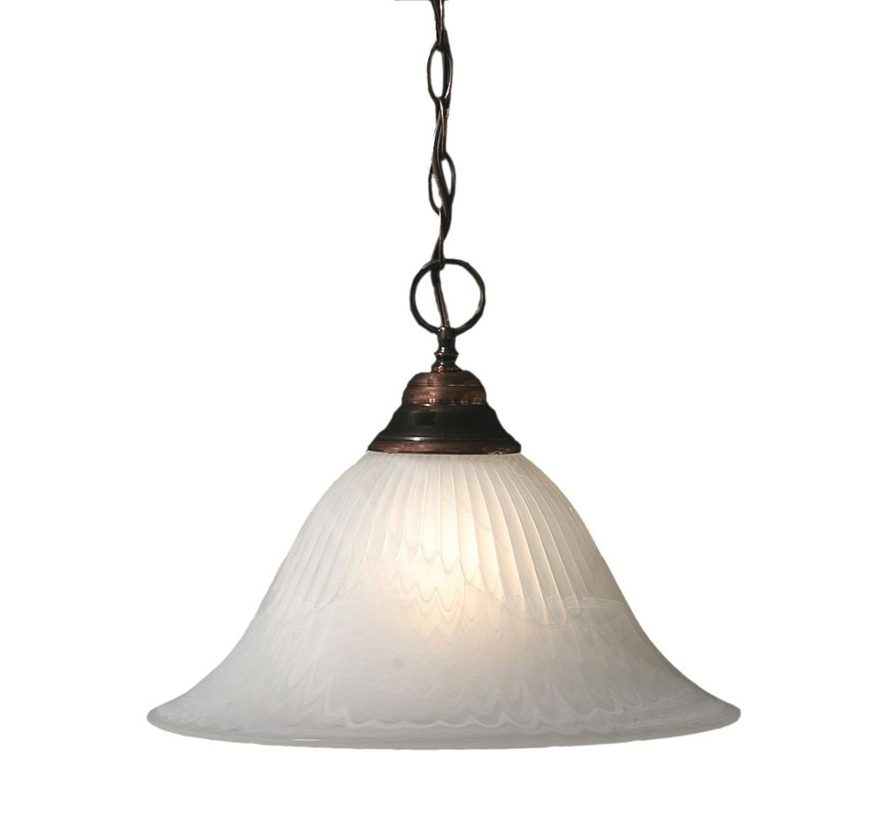 Concord 1 Light Ceiling Black Copper Incandescent Pendant with an Alabaster Glass