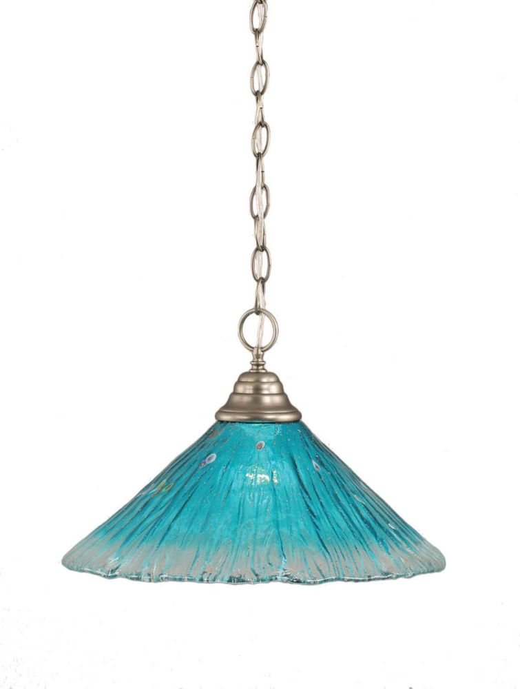 Concord 1 Light Ceiling Brushed Nickel Incandescent Pendant with a Teal Crystal Glass