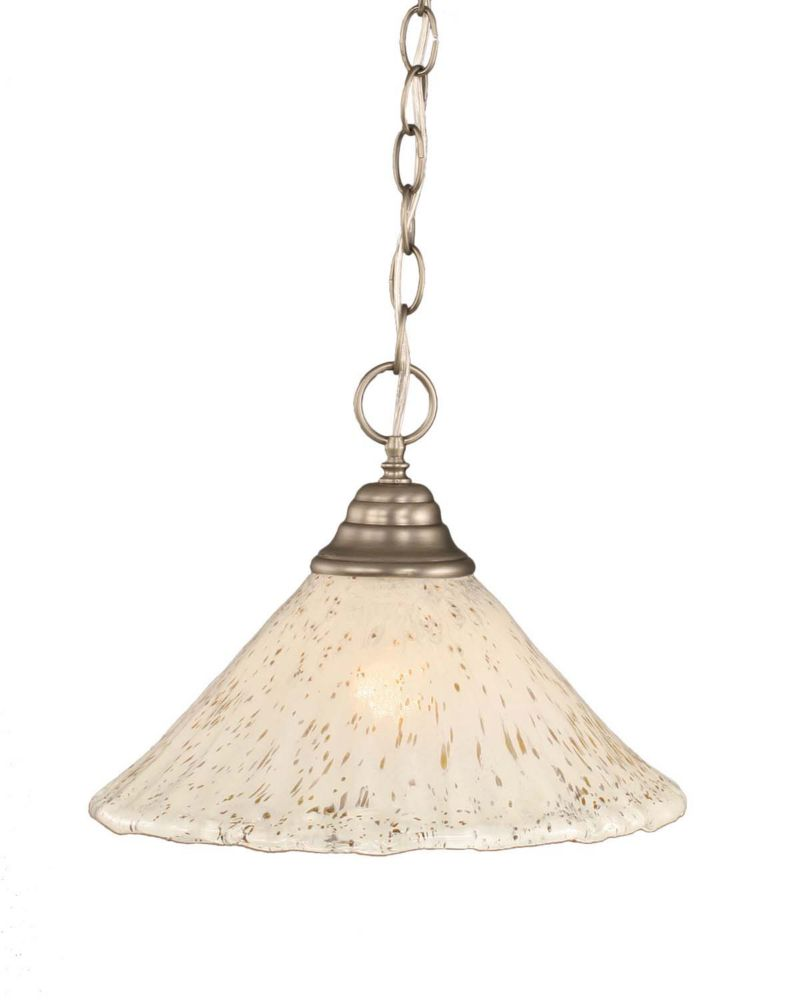 Concord 1 Light Ceiling Brushed Nickel Incandescent Pendant with a Gold Crystal Glass