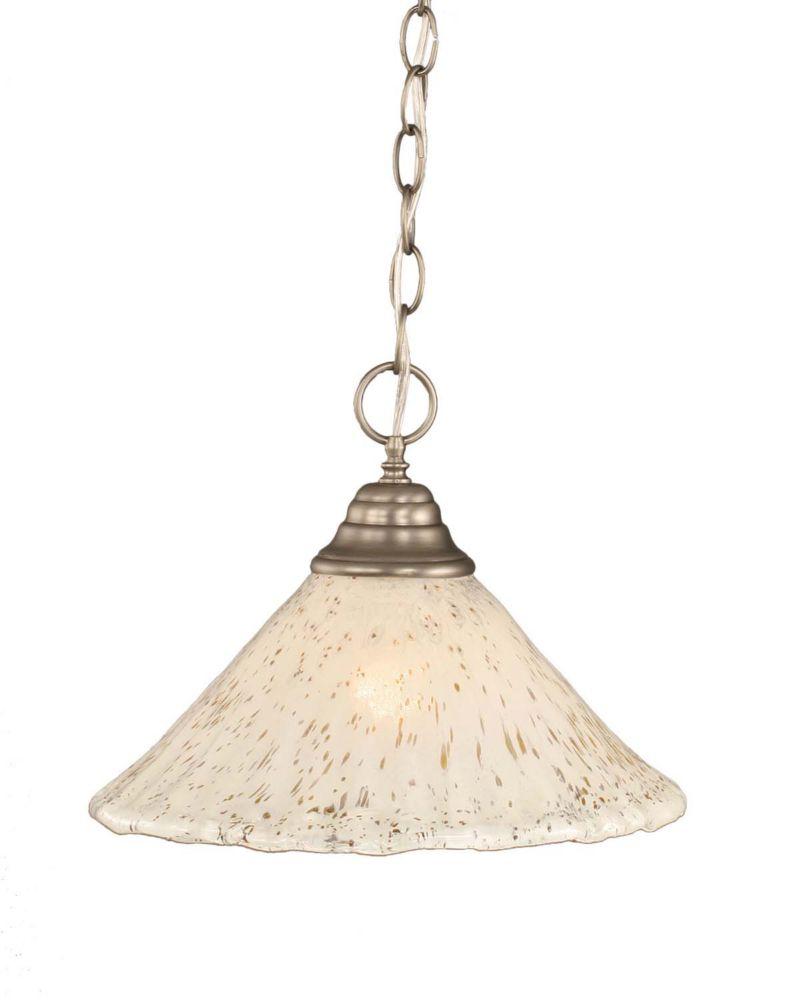 Concord plafond à 1 lumière, nickel brossé Pendeloque à incandescence avec un cristal en verre d'...