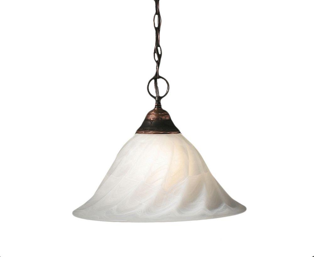 Concord 1 lumière au plafond Noir Copper Pendeloque incandescence par un verre d'albâtre