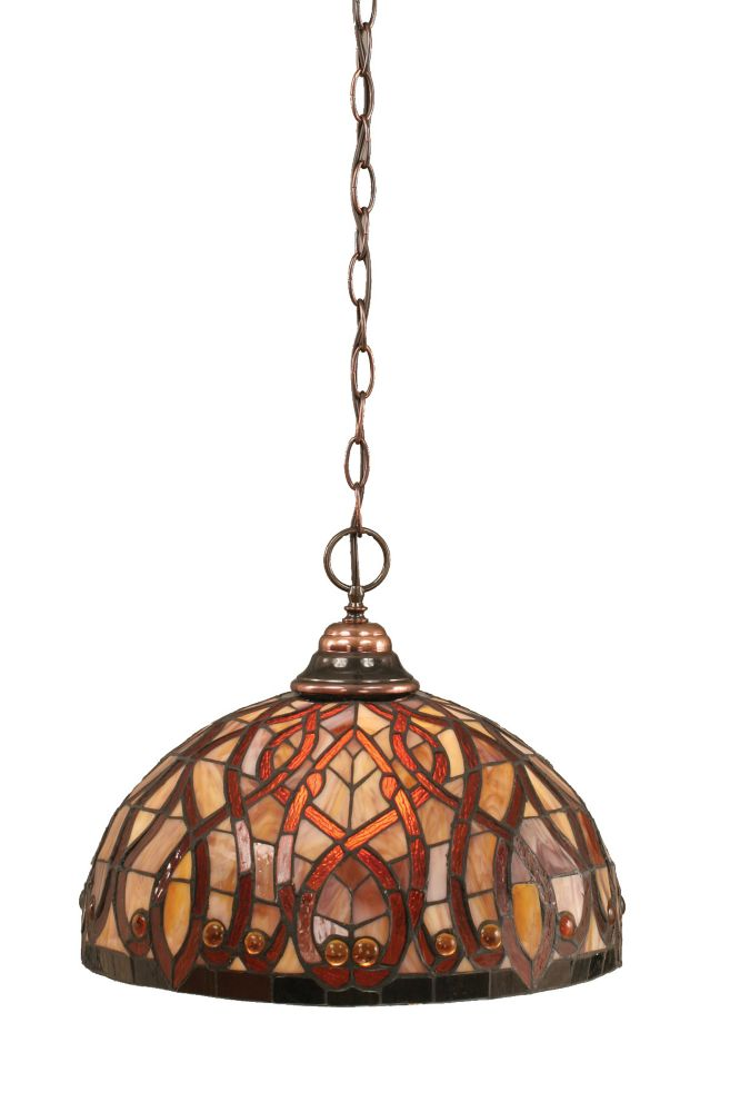 Concord 1 Light Ceiling Black Copper Incandescent Pendant with a Persian Nites Tiffany Glass