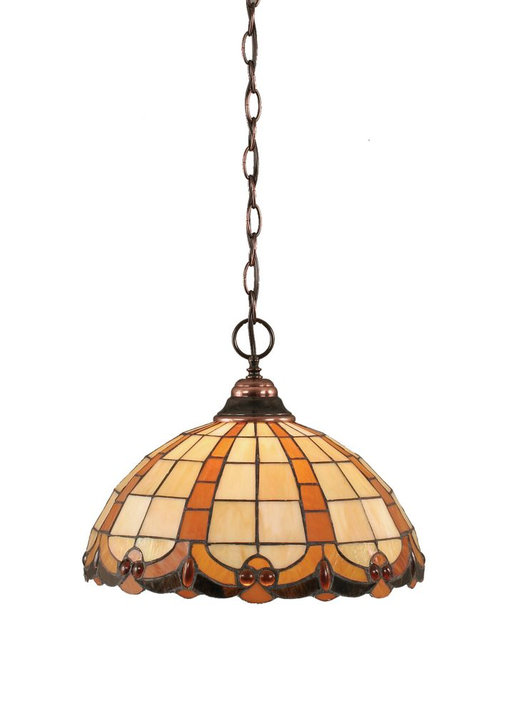 Concord 1-Light Ceiling Black Copper Pendant with a Butterscotch Tiffany Glass