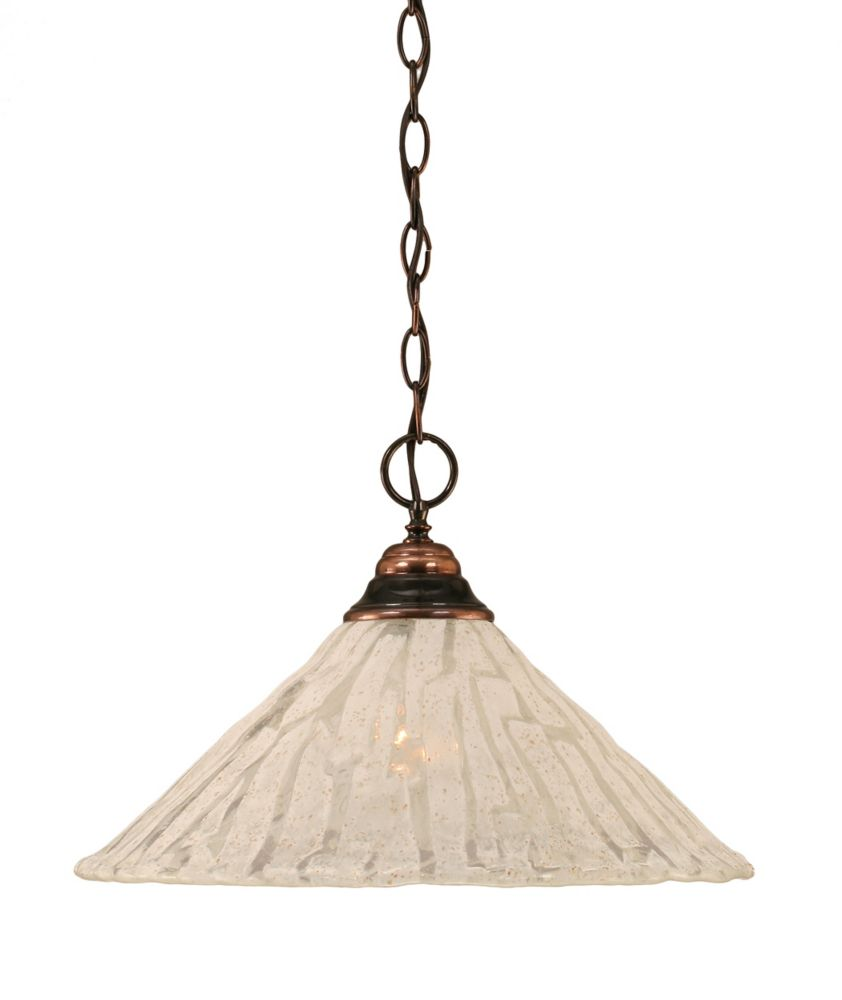 Filament Design Concord 1 Light Ceiling Black Copper Incandescent Pendant with a Clear Crystal Glass
