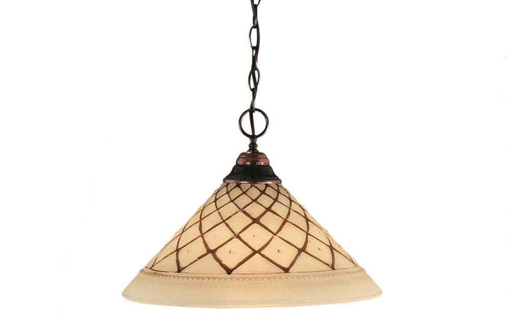 Concord 1 Light Ceiling Black Copper Incandescent Pendant with a Chocolate Icing Glass