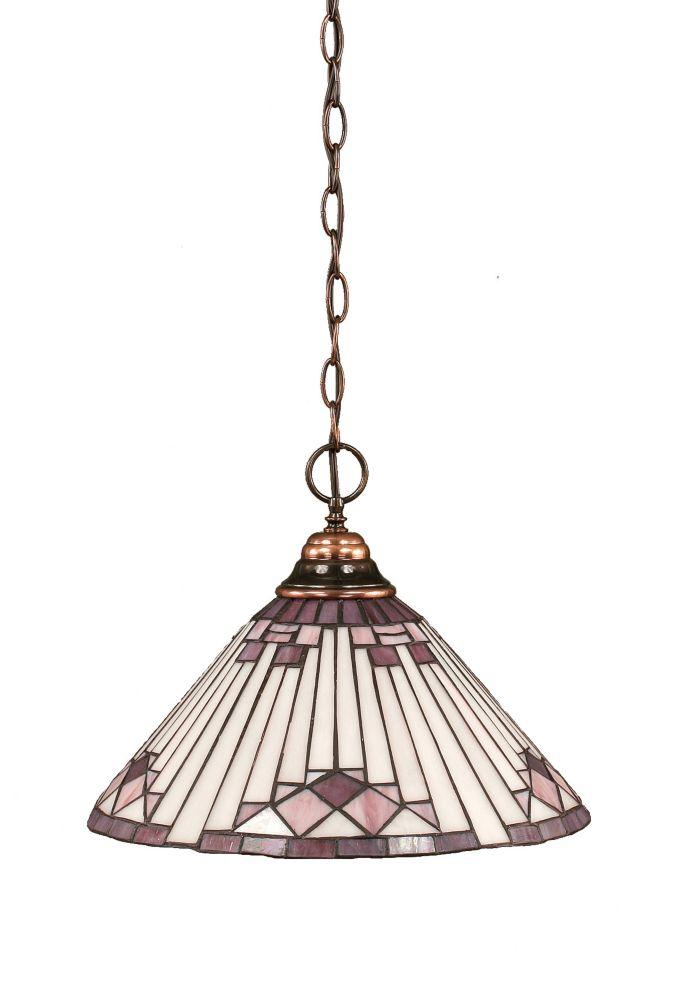 Concord 1 lumière au plafond Noir Copper Pendeloque à incandescence avec un mauve Sunray Le verre...