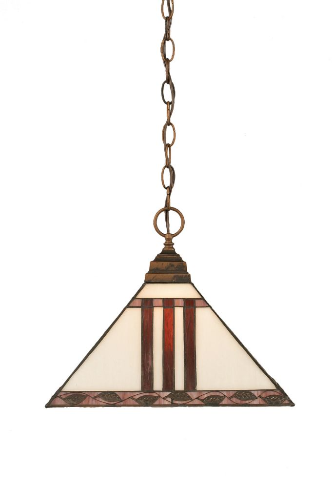 Concord 1 Light Ceiling Bronze Incandescent Pendant with a Purple and Metal Leaf Tiffany Glass