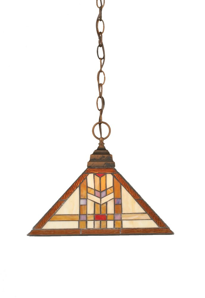 Concord 1-Light Ceiling Bronze Pendant with a Navajo Tiffany Glass