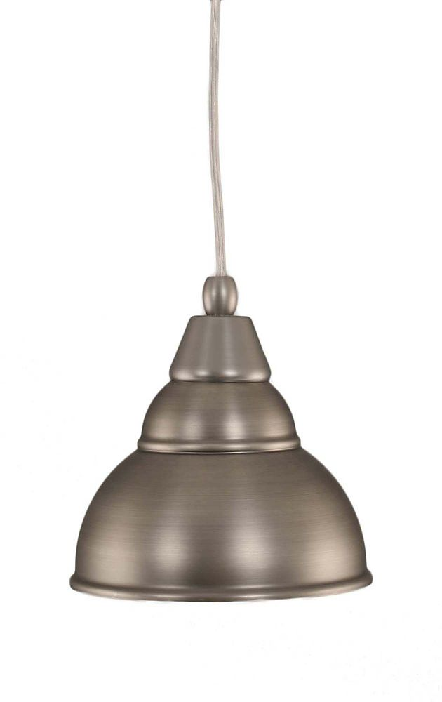 Concord 1-Light Ceiling Brushed Nickel Pendant with a Bronze Glass