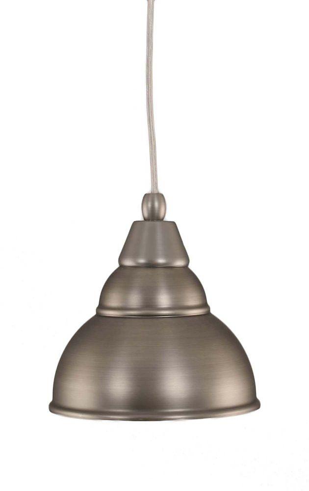 Concord plafond à 1 Lumière brossé Nickel Pendeloque à incandescence avec un verre Bronze