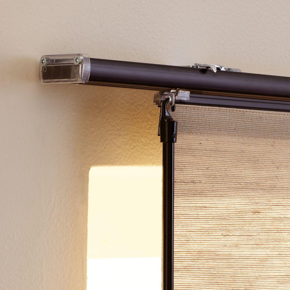 Rail supérieur de rail de panneau, Noir, 198cmx0cm (Largeur réelle 198cm)