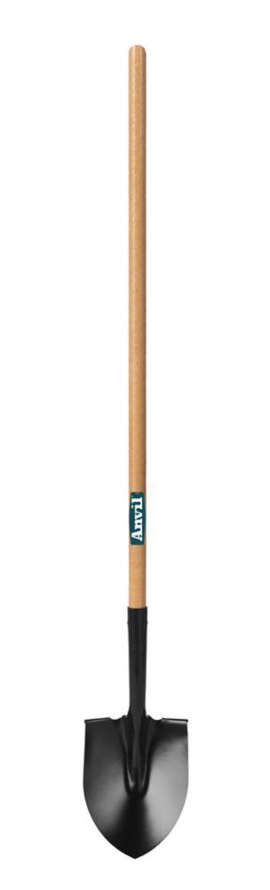 HDX, Round Point Shovel With Long Wood Handle Garden Shovels