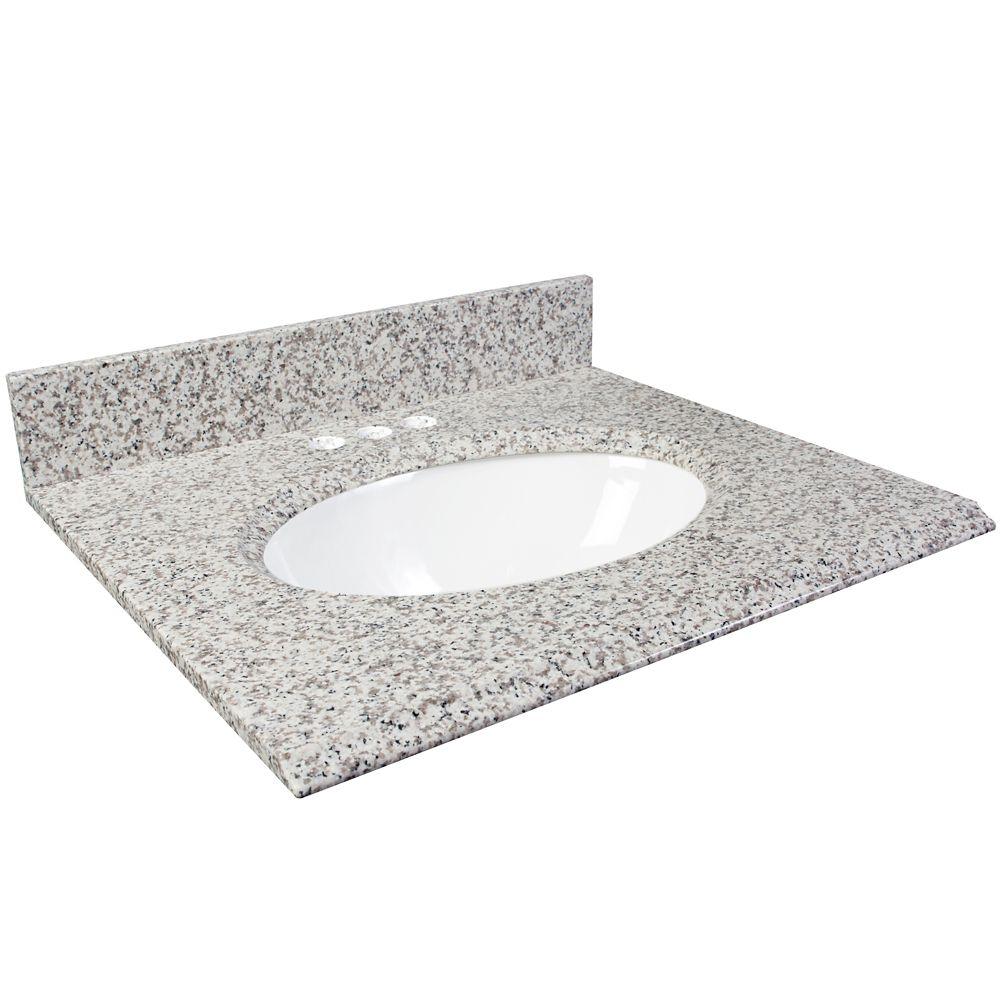 Dessus de meuble-lavabo en granite de Cendre blanc� 25 po
