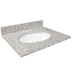 Foremost International Dessus de meuble-lavabo en granite Cendre blanc – 31 po