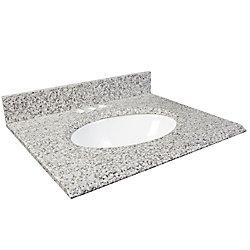 Foremost International Dessus de meuble-lavabo en granite Cendre blanc – 37 po