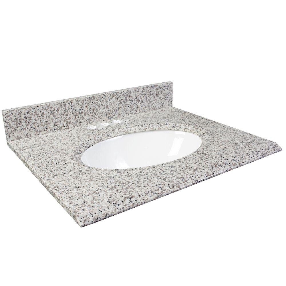 37-Inch W Granite Vanity Top in White Ash
