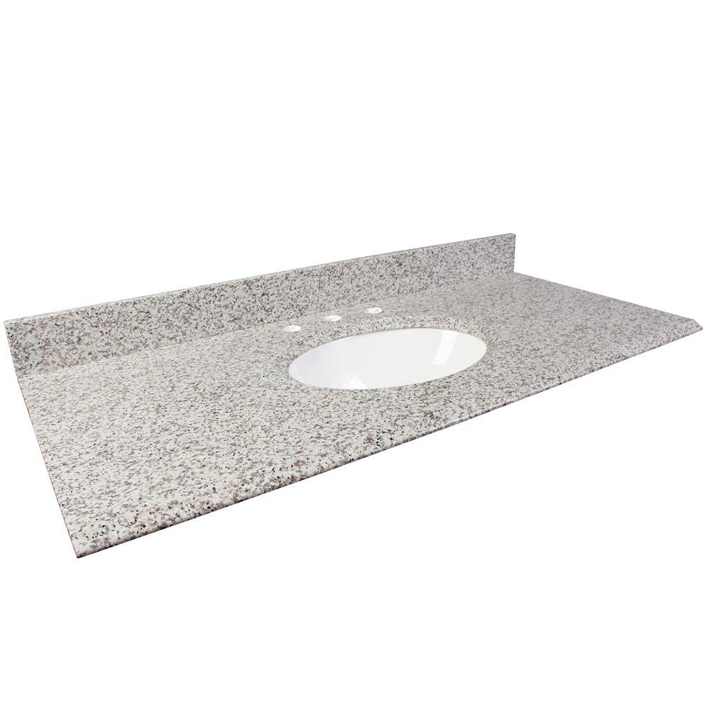 Dessus de meuble-lavabo en granite Cendre blanc � 48 po