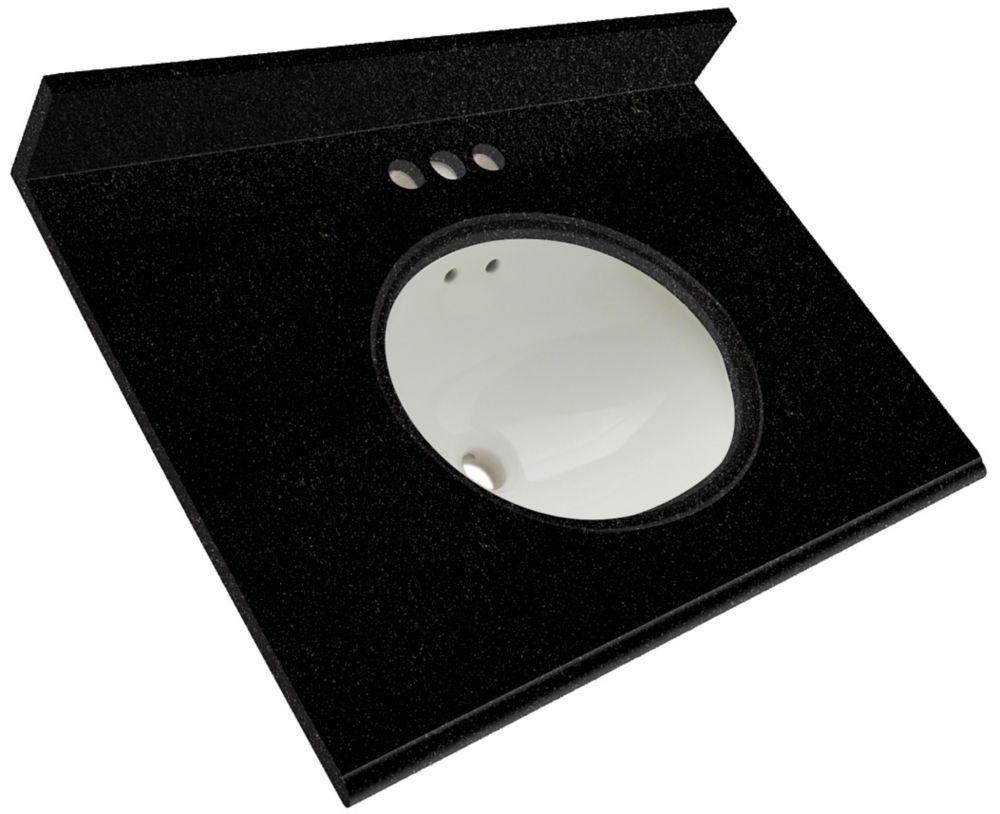 Dessus de meuble-lavabo en granite Noir tempête � 37 po