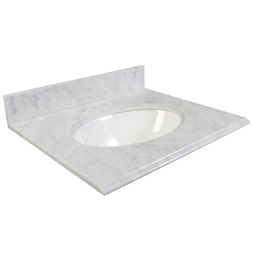 31-Inch W Carrara Marble Vanity Top in White