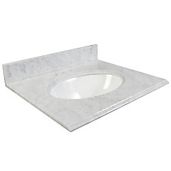 Foremost International 31-Inch W Carrara Marble Vanity Top in White