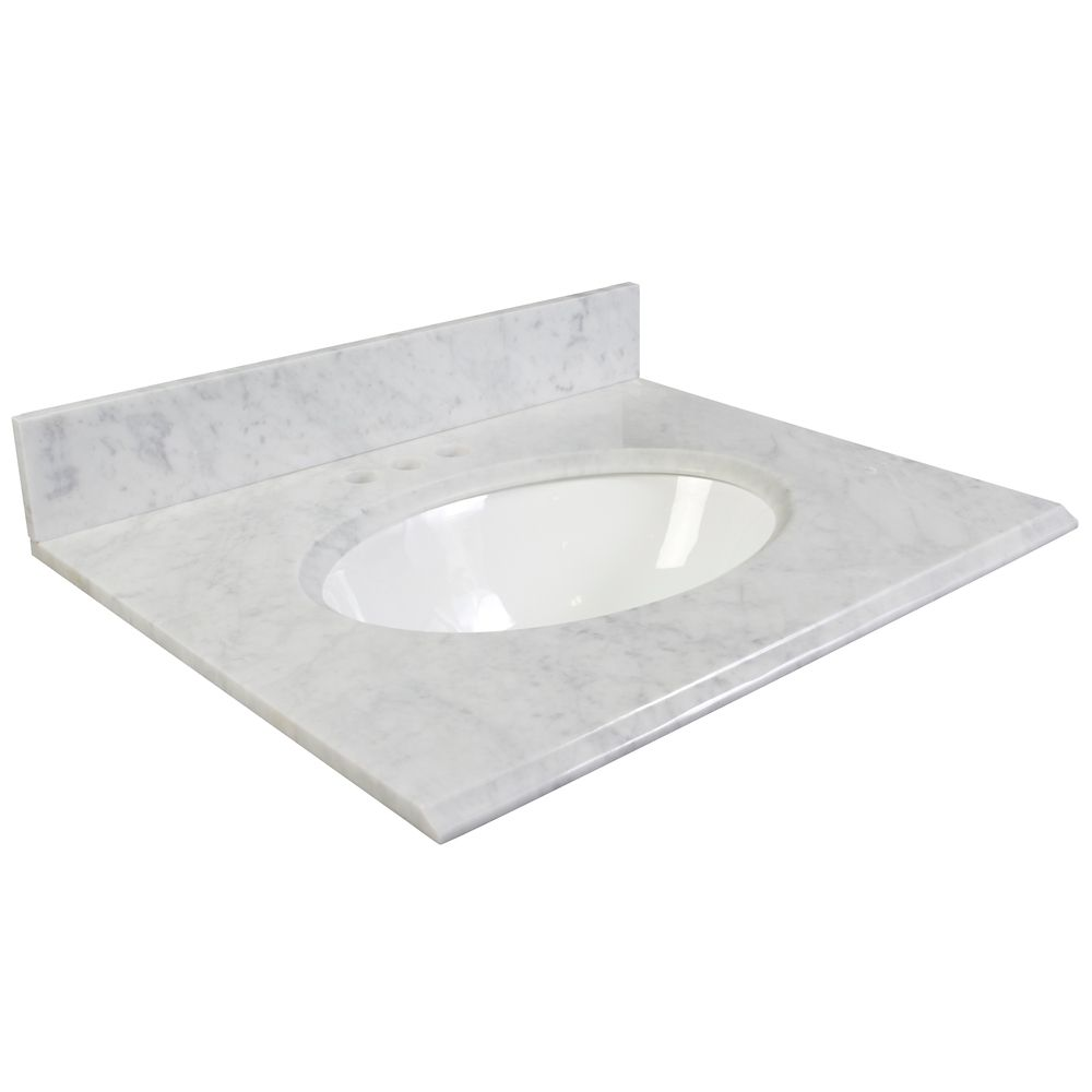 Foremost International 37-Inch W Carrara Marble Vanity Top in White