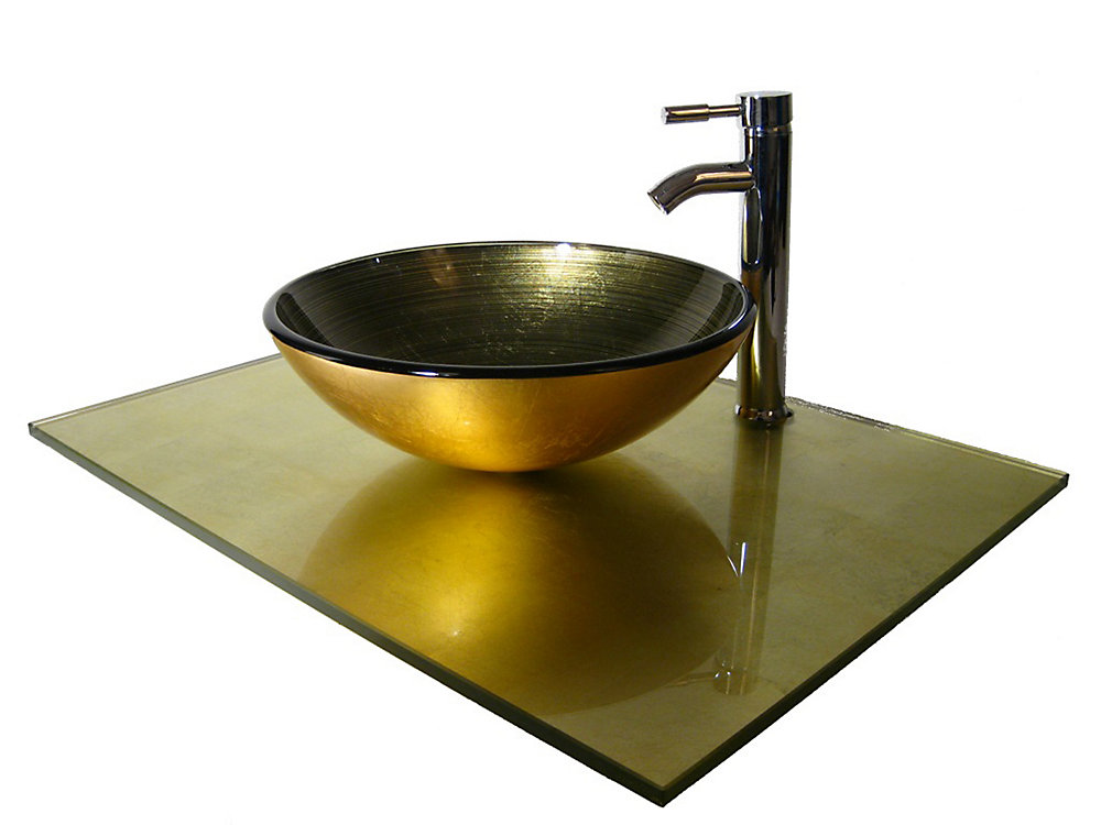 37-Inch W Glass Vanity Top in Gold Foil