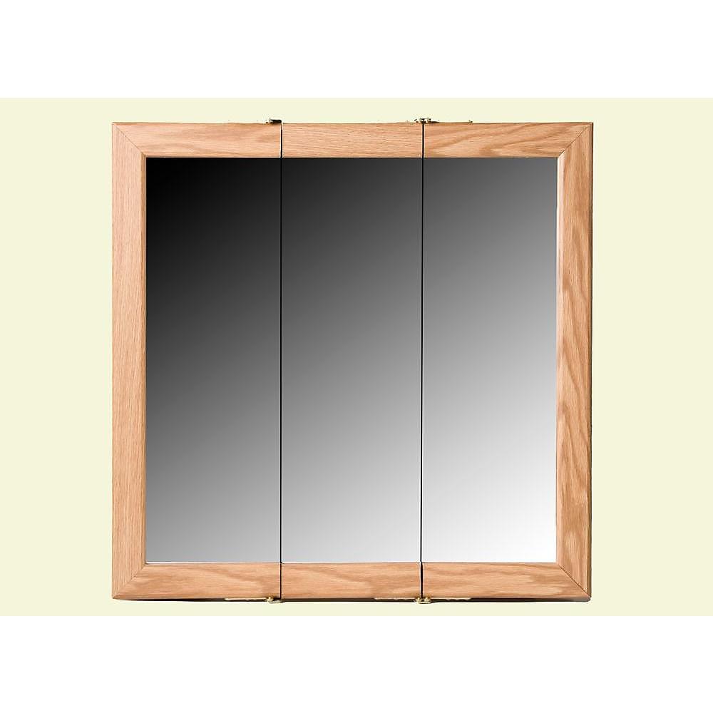 Oak Tri-View Medicine Cabinet - 24 Inch