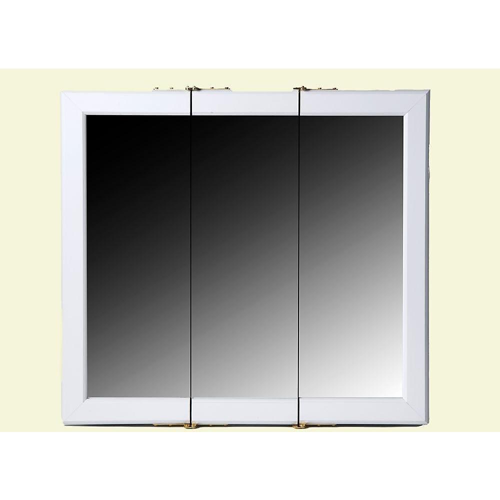 White Tri-View Medicine Cabinet - 24 Inch