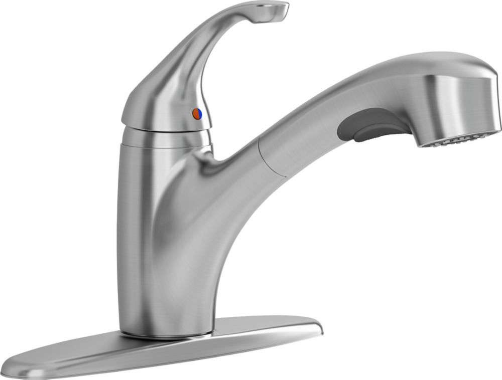 Jardin Single Handle Pull Out Kitchen Faucet In Stainless Steel