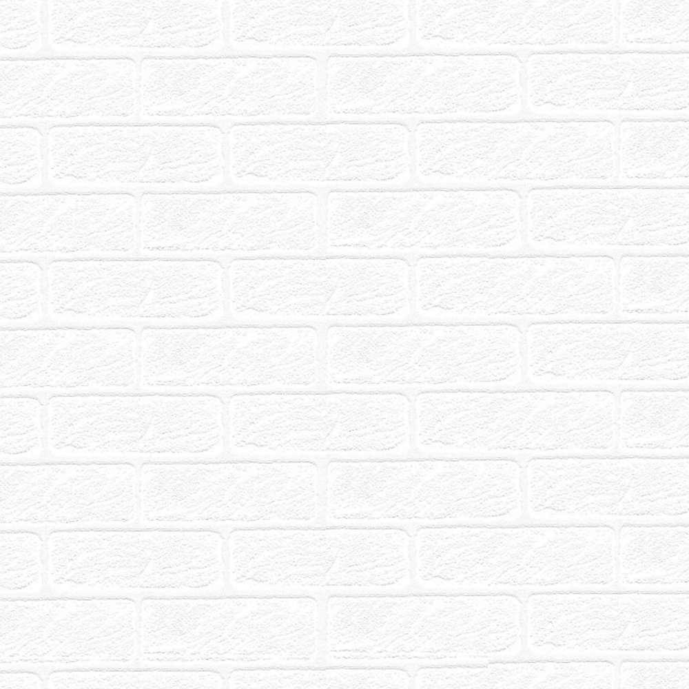 56 sq. ft. Paintable White Brick Textured Wallpaper