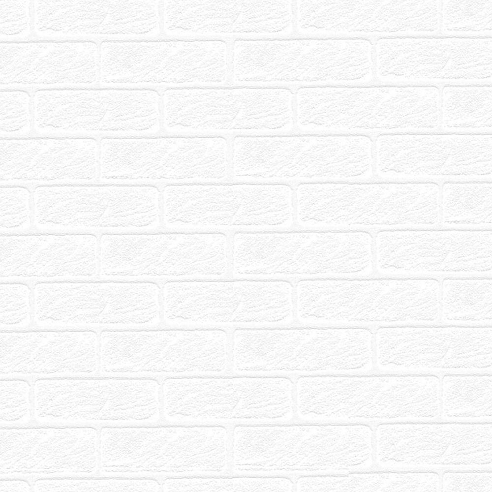 Paintable White Brick Textured Wallpaper