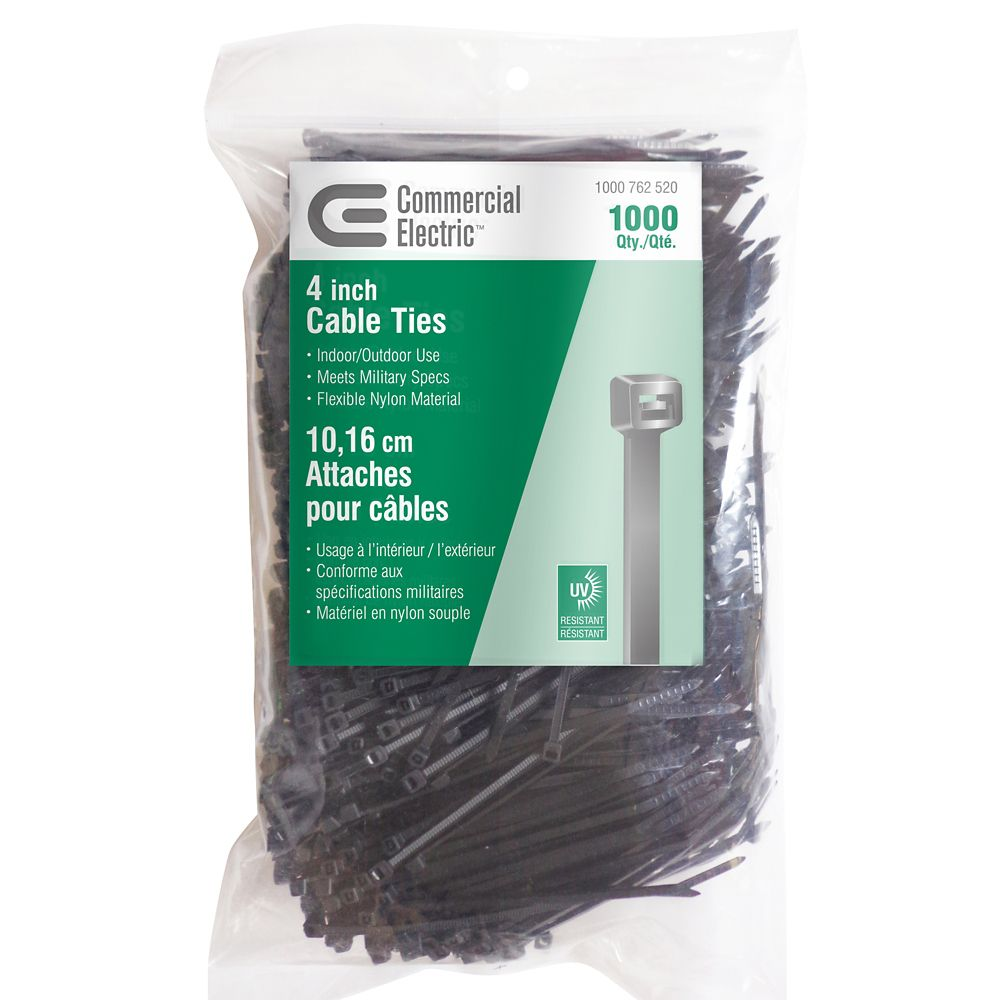 4IN UV BLACK CABLE TIE 1000 PACK