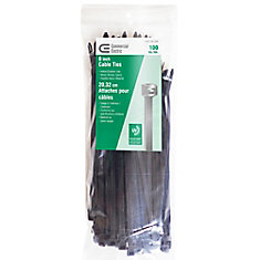 8-inch UV Cable Ties in Black (100-Pack)