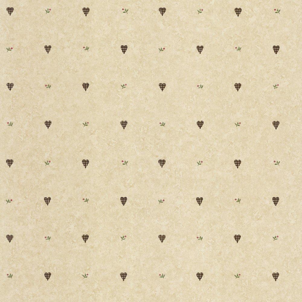 Papier Peint Beige Coeurs Vichy Larg. 20,5 Po Photo Of Product