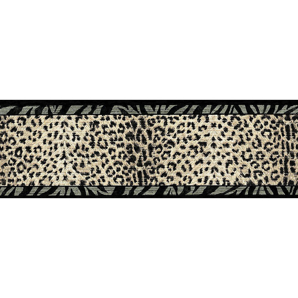 6.75 In. H Black and Beige Animal Print Border