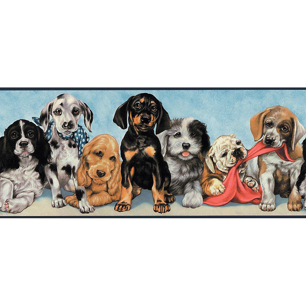 10.25 In. H Multi Colored Playful Puppies Border