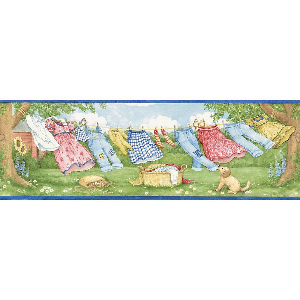6.875 In. H Blue Laundry Breeze Border