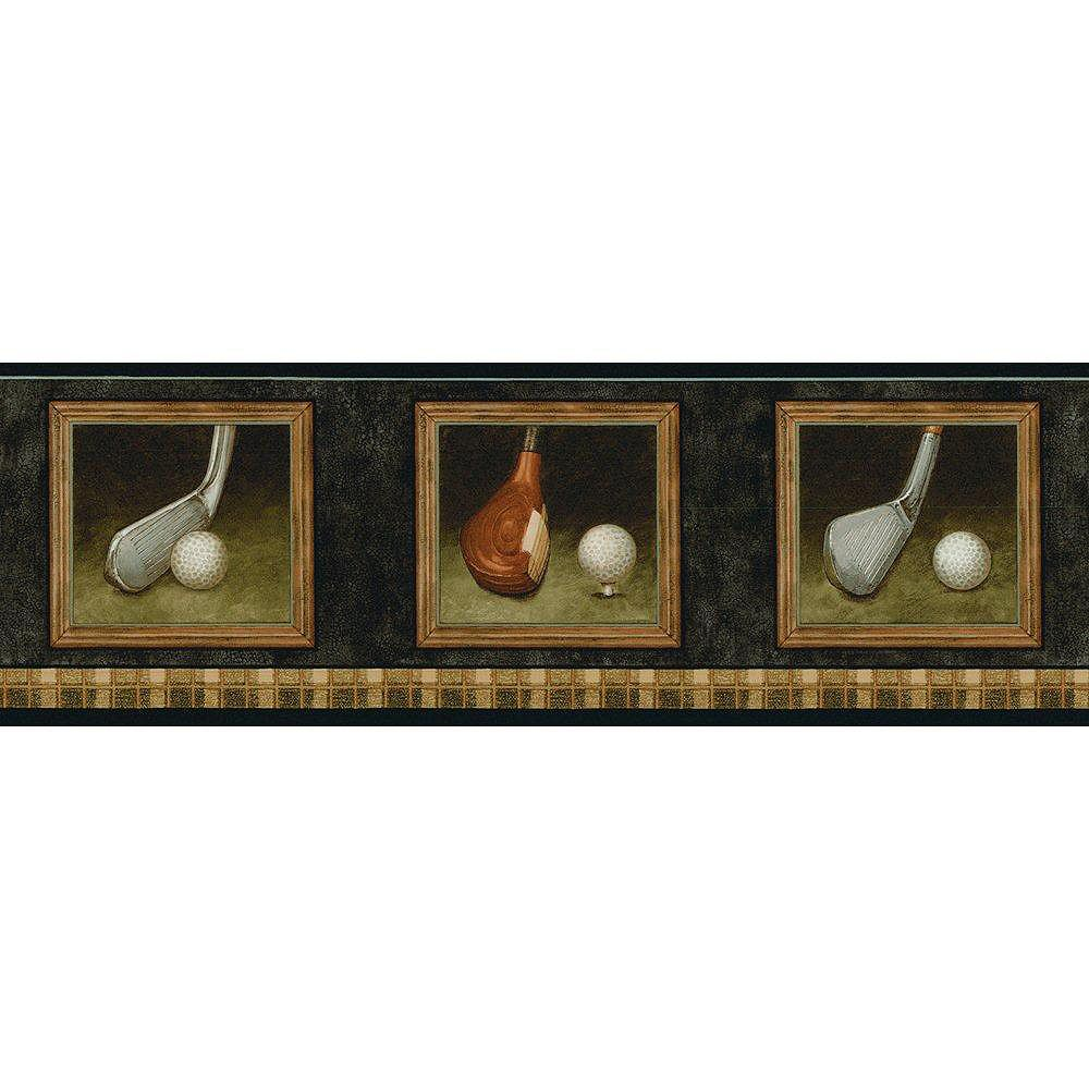 The Wallpaper Company 6.75 In. H Black and Brown Golf Border