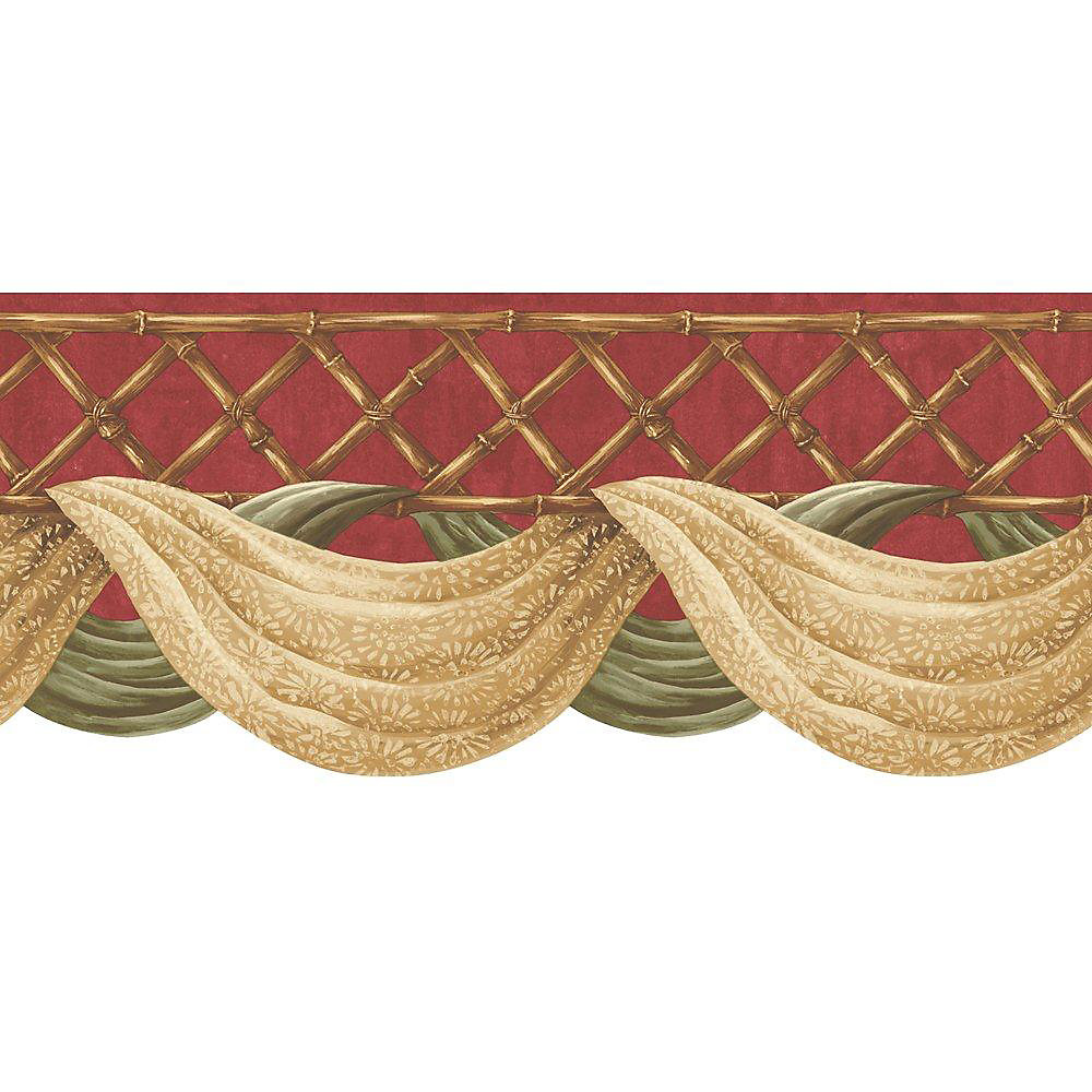 9 In. H Red Bamboo Swag Border