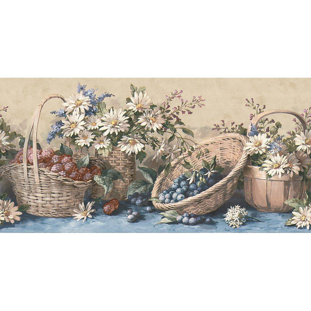 10.25 In. H Blue Country Baskets and Sunflowers Border