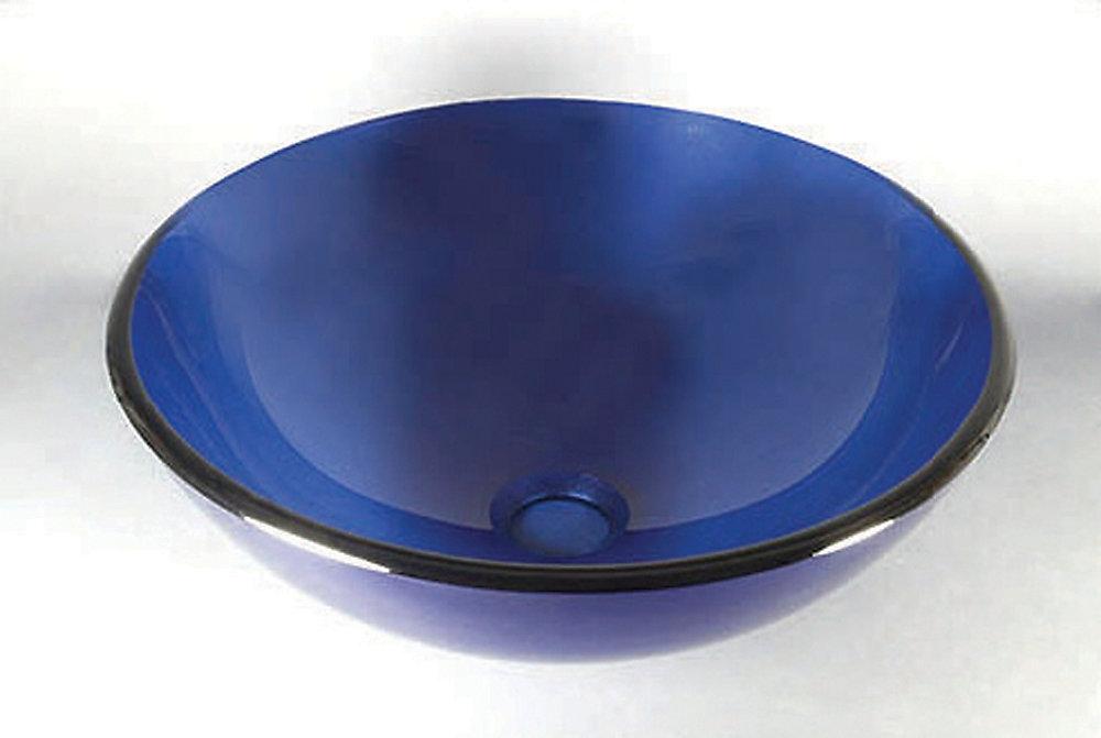 Glass Vessel Sink in Cobalt Blue