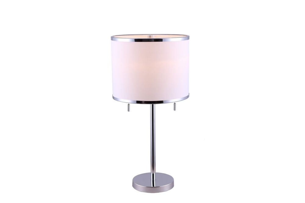 Hampton Bay HANSON 1 Light Chrome Table Lamp With White Fabric Shade