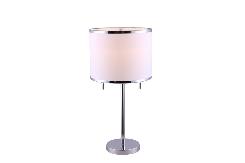 Hampton Bay Hanson 1-Light Table Lamp in Chrome with White Fabric Shade