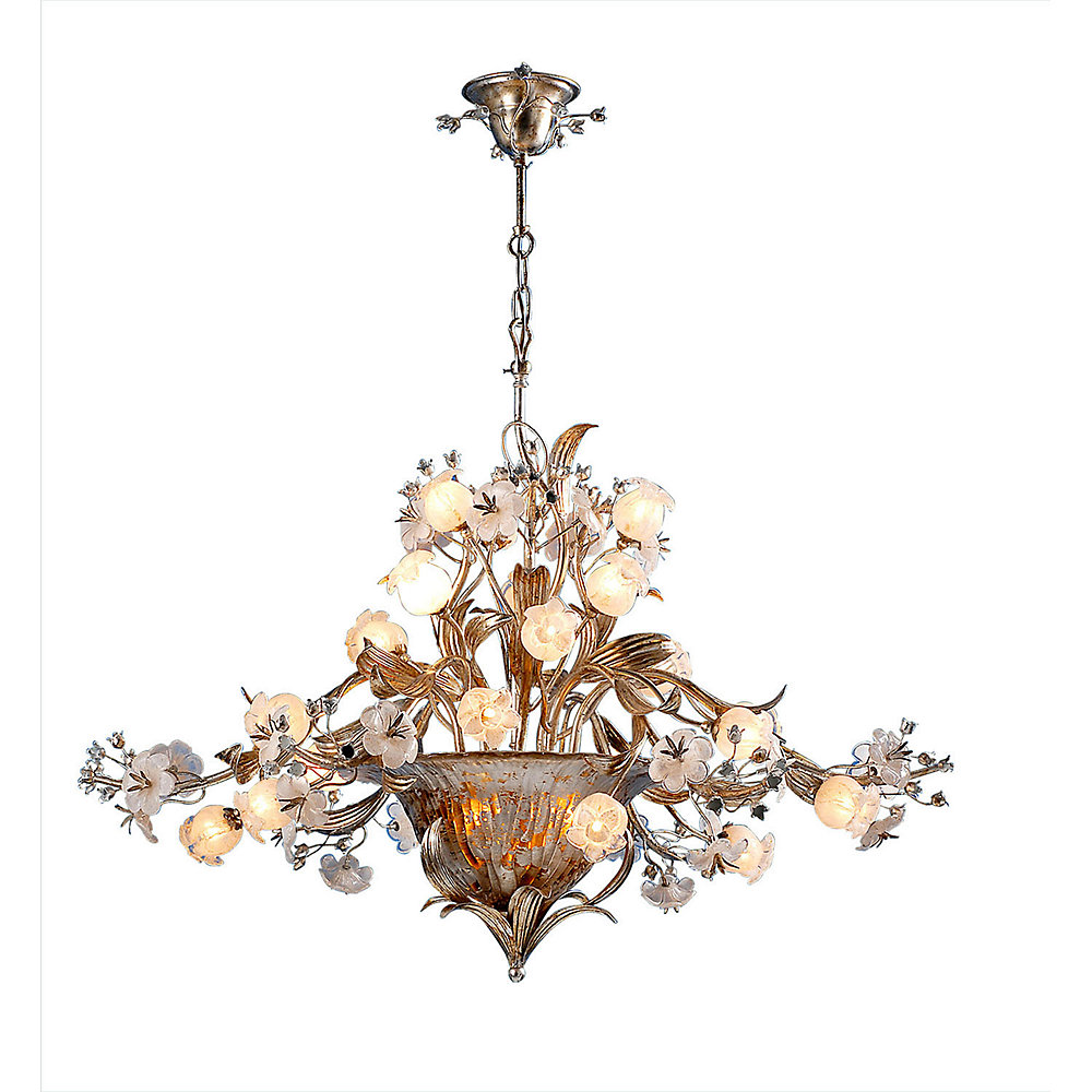 24 Light Chandelier with Flowers